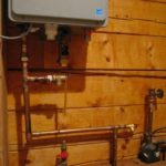 photo of partially installed water heater