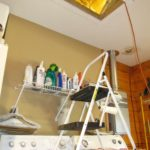 photo of ceiling hatch and step-stool