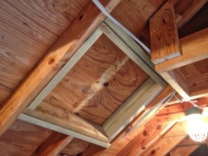 photo of A frame for the hole in the roof