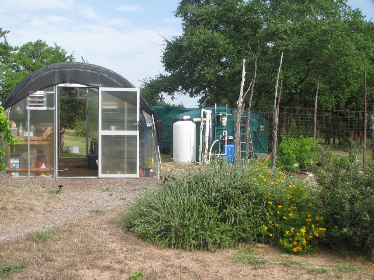photo of the Greenhouse and Rainwater System