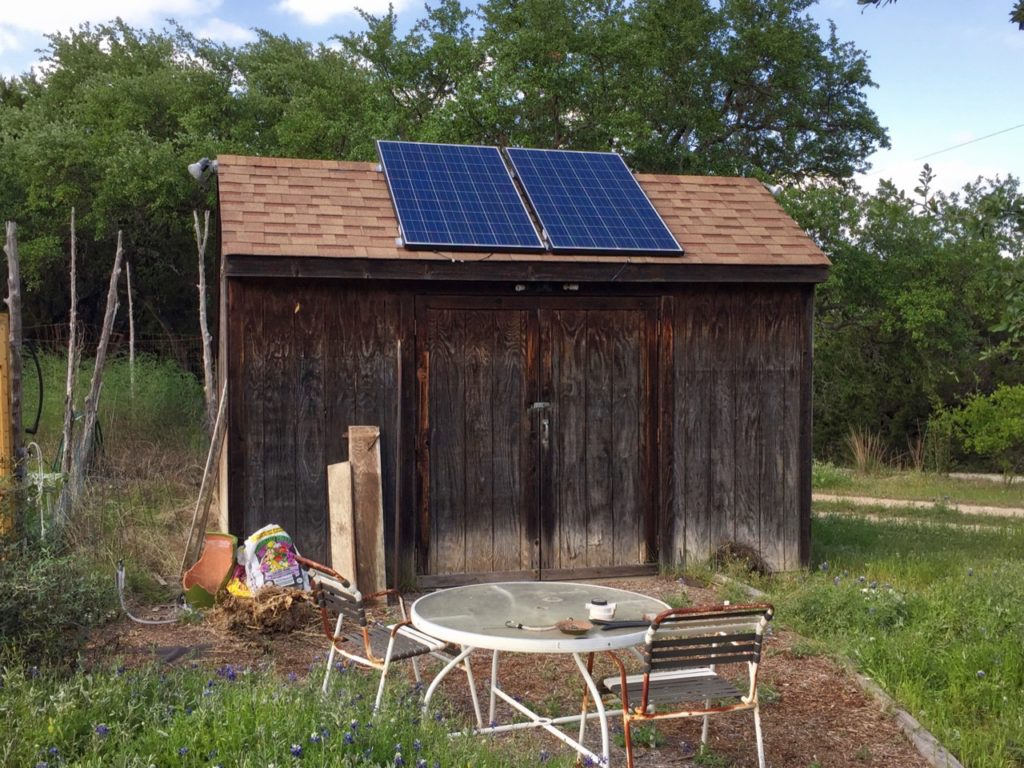 photo of the garden shed -- Ready for inverter and batteries